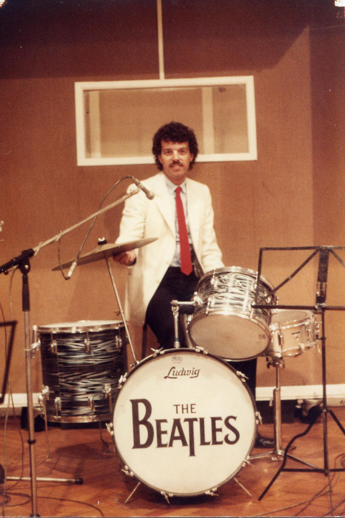 Andy Owen on Ringo's drum kit.